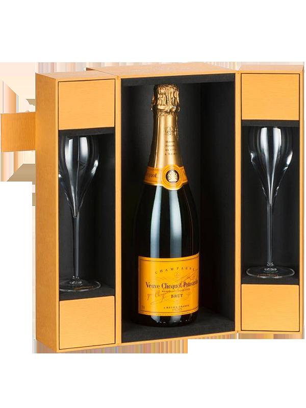 Veuve Clicquot Champagne Brut In Luxe Giftbox 2 Glazen